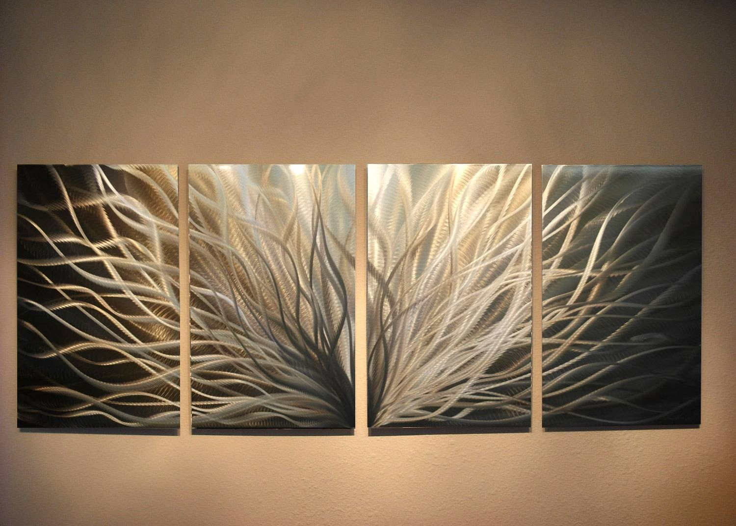 Metal Art Wall Art Decor Aluminum Abstract Contemporary Modern With Regard To 2018 Silver And Gold Wall Art (View 3 of 15)