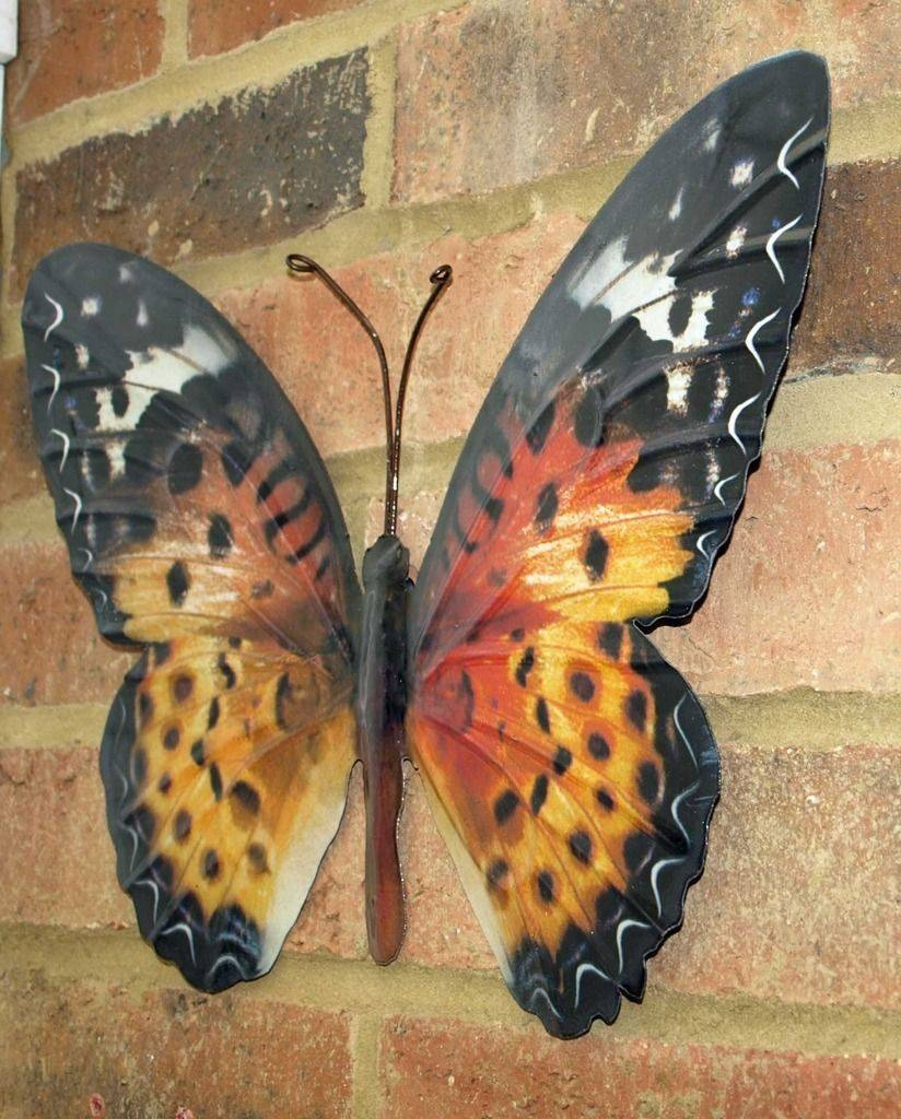 Metal Butterfly Wall Art Orange Brown 35Cm Garden Home Decoration New With Regard To Newest Large Metal Butterfly Wall Art (View 18 of 25)