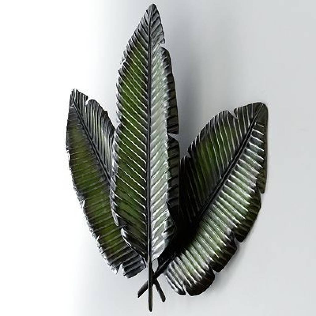 Metal Palm Wall Decor With 3 Distressed Palm Leaves 15893789 Metal For Best And Newest Palm Leaf Wall Art (View 17 of 20)