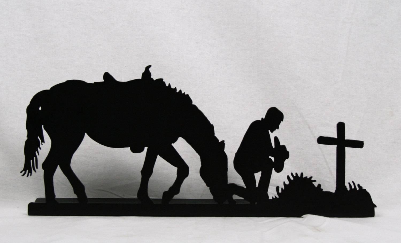 Metal Praying Cowboy, Rustic Cowboy Prayer, Cowboy Metal Art Throughout 2017 Western Metal Art Silhouettes (View 15 of 30)