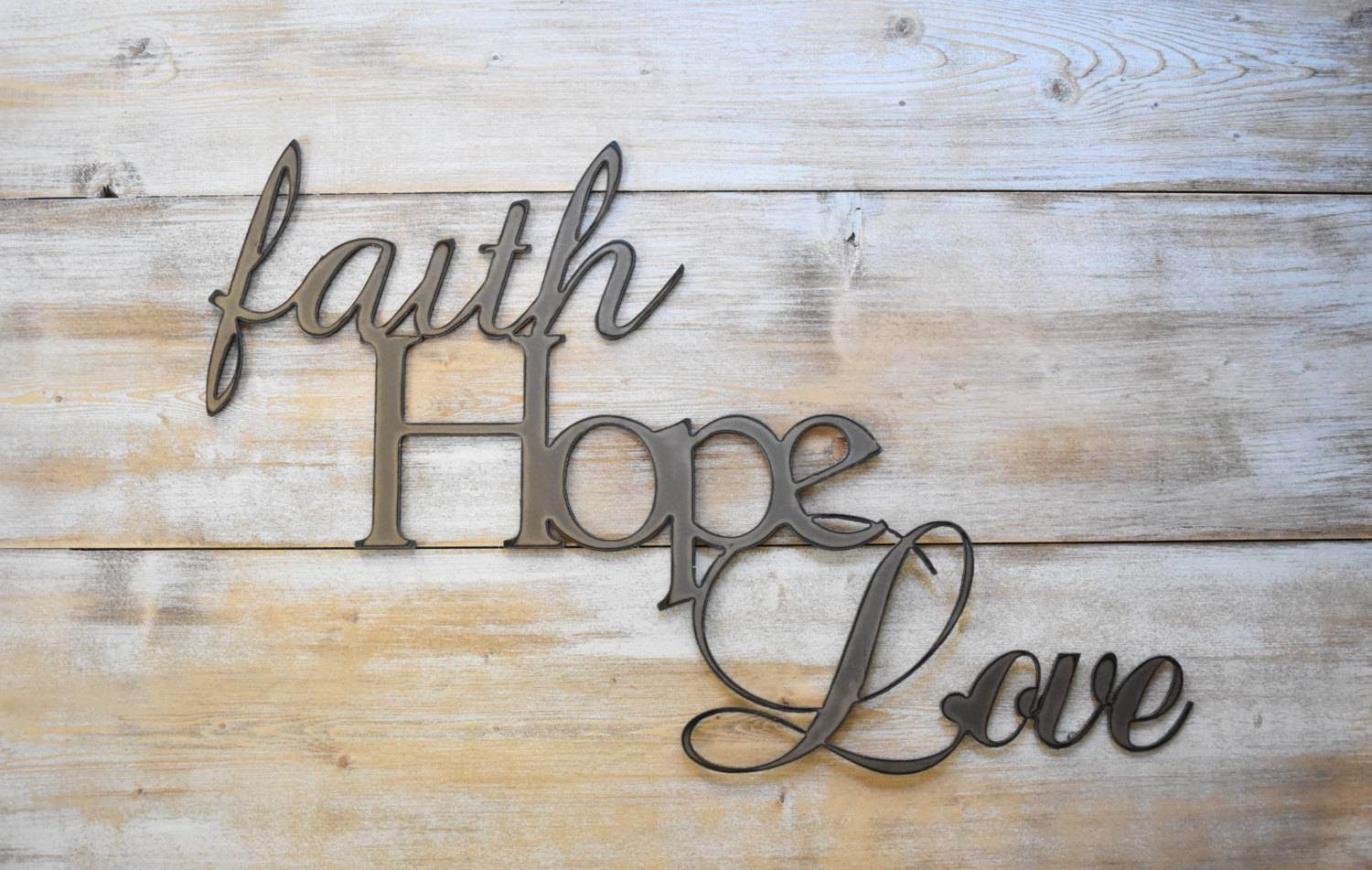 Metal Sign Faith Hope Love Word Sign Farmhouse Decor In Most Up To Date Metal Word Wall Art (View 13 of 20)