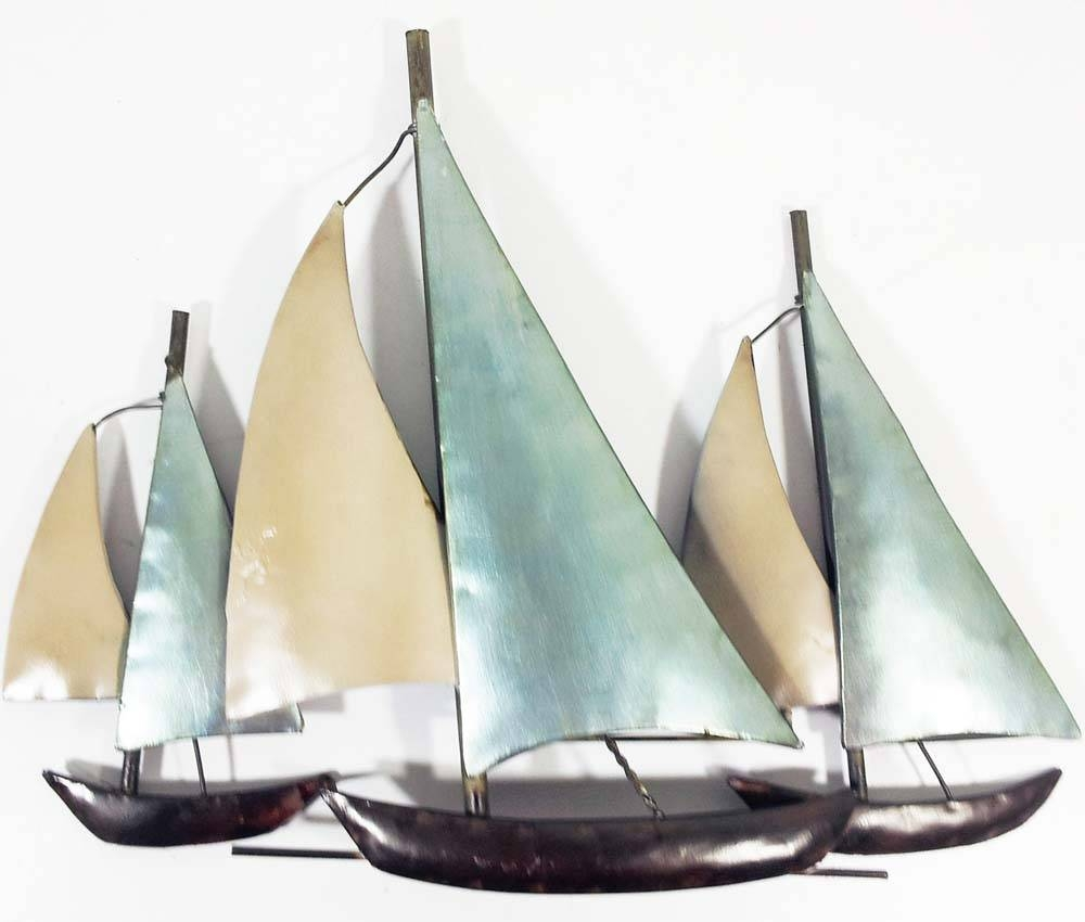 Metal Wall Art – 3 Sail Boats At Sea Intended For Newest Metal Sailboat Wall Art (View 7 of 30)
