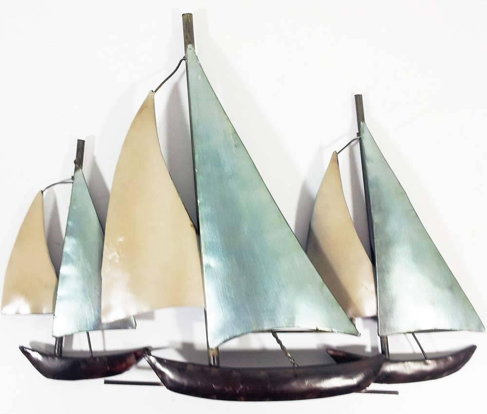 Metal Wall Art – 3 Sail Boats At Sea With Newest Boat Wall Art (View 10 of 20)