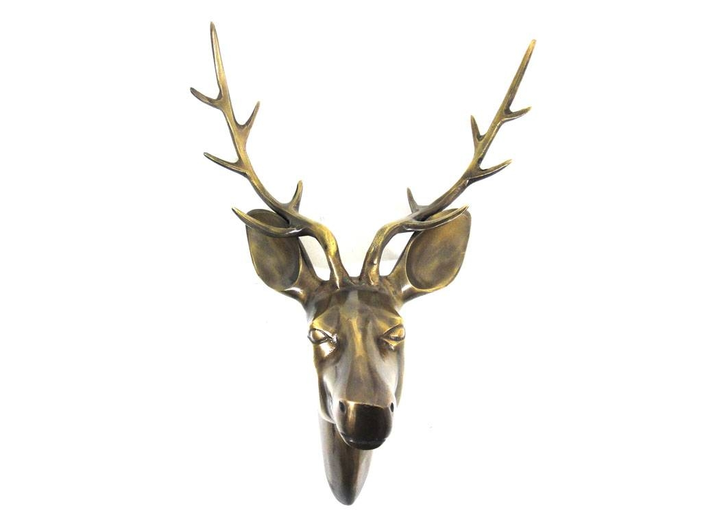 Metal Wall Art – Large Deer Stag Head Bronze Finish With Newest Stags Head Wall Art (View 12 of 25)