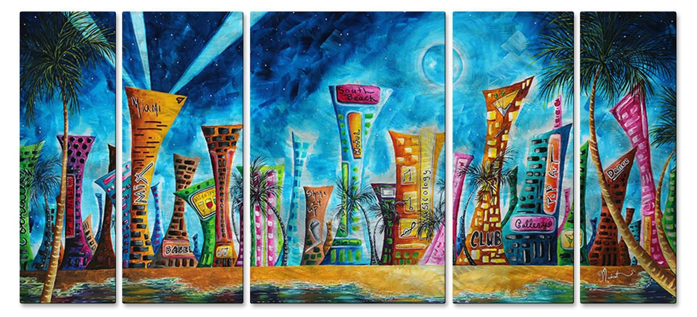 Metal Wall Art Miami Night Life Megan Duncanson Abstract Cityscape Pertaining To Current Megan Duncanson Metal Wall Art (View 15 of 25)