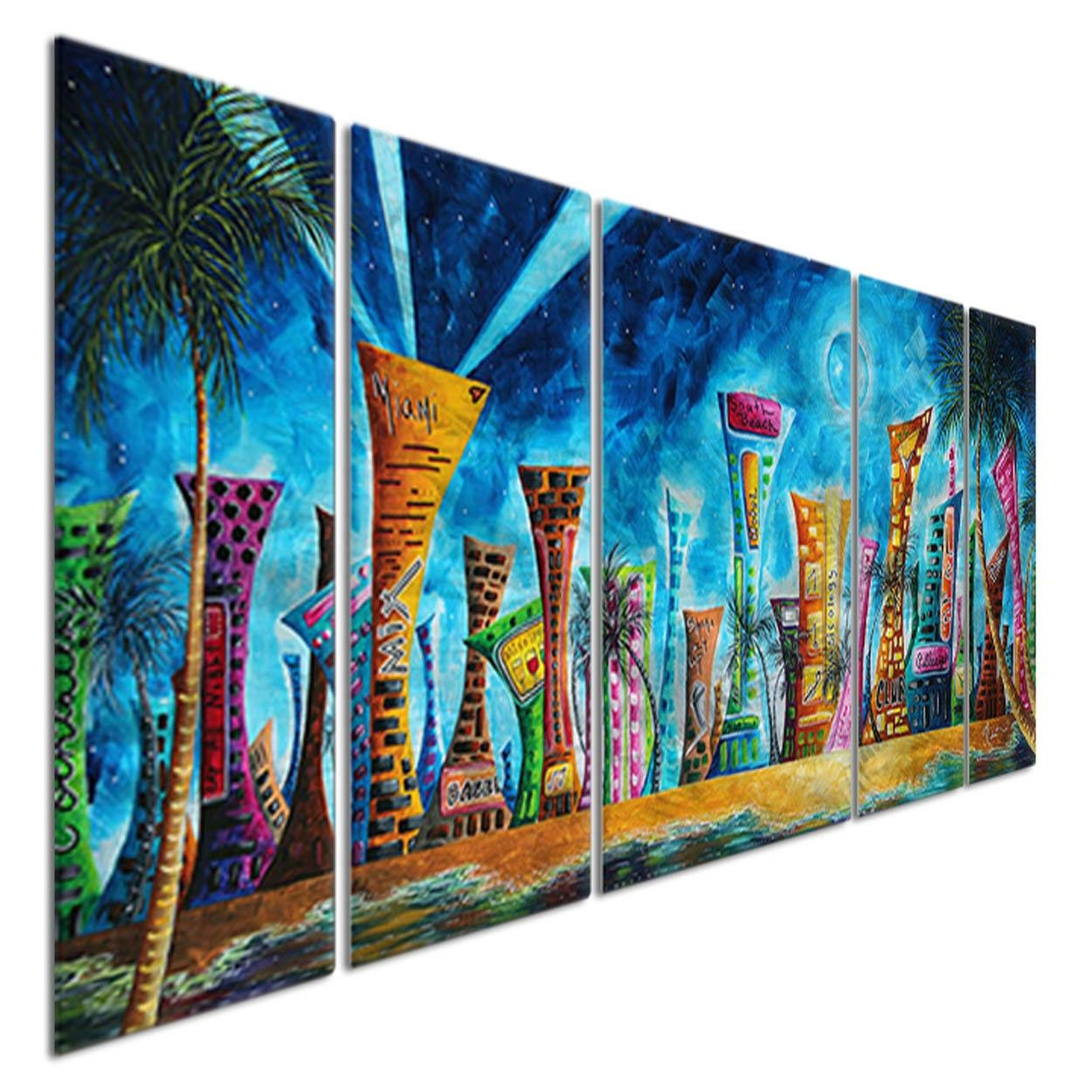 Metal Wall Art Miami Night Life Megan Duncanson Abstract Cityscape With Most Up To Date Megan Duncanson Metal Wall Art (View 7 of 25)