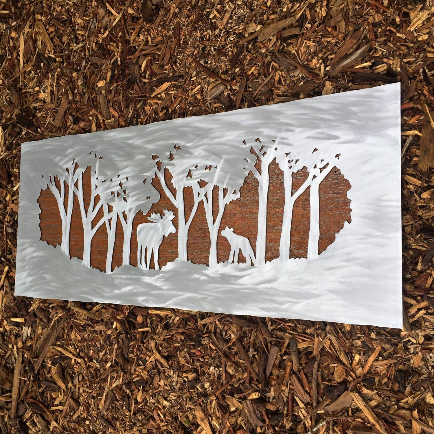 Metal Wall Art. Moose In Forest. Wall Hanging. Wilderness (View 8 of 20)
