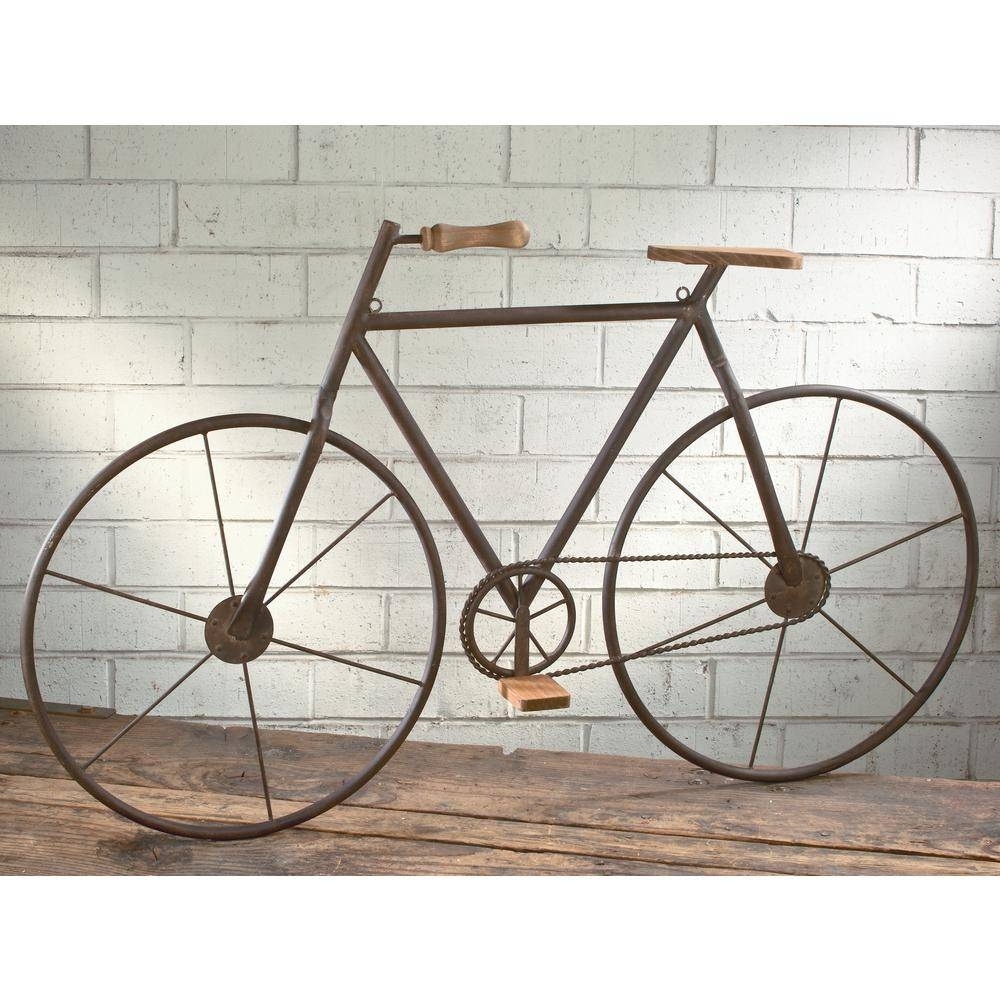 Metal With Wood Brown Finish Bicycle Wall Art 16465 – The Home Depot For Most Recent Metal Bicycle Wall Art (View 12 of 20)