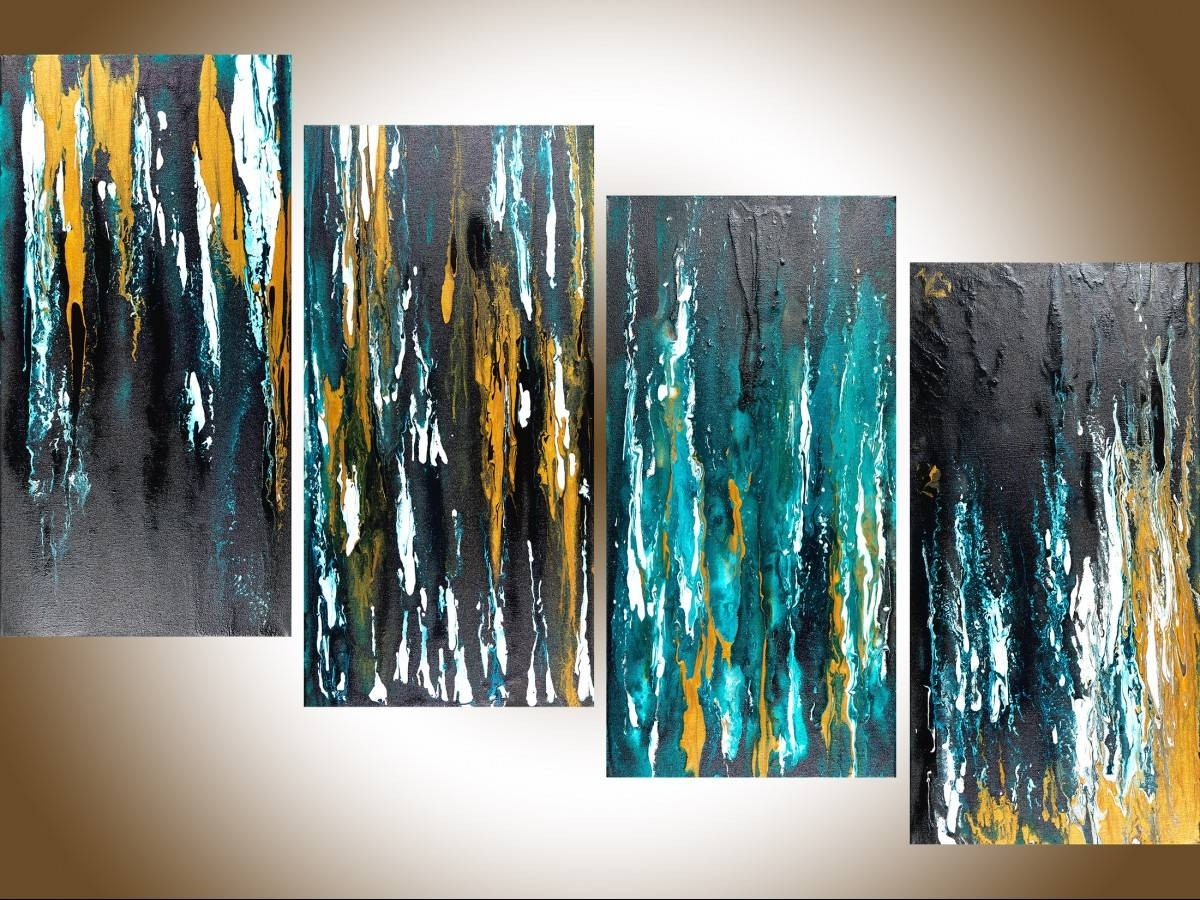 "Meteor Shower Iiqiqigallery 48""x24"" Original Modern Abstract In Most Current Turquoise And Black Wall Art (View 1 of 20)"