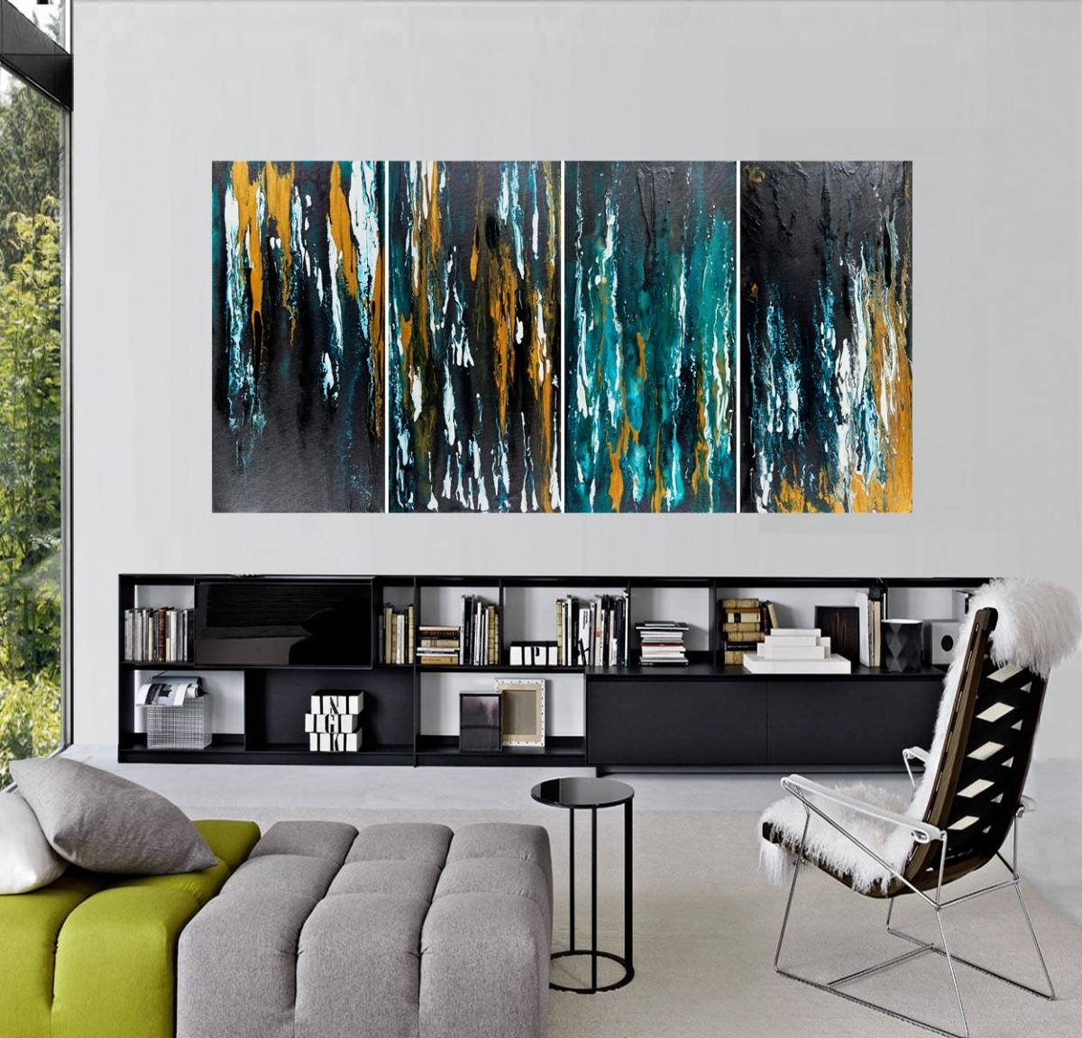 "Meteor Shower Iiqiqigallery 48""x24"" Original Modern Abstract In Most Recently Released Turquoise And Black Wall Art (View 12 of 20)"