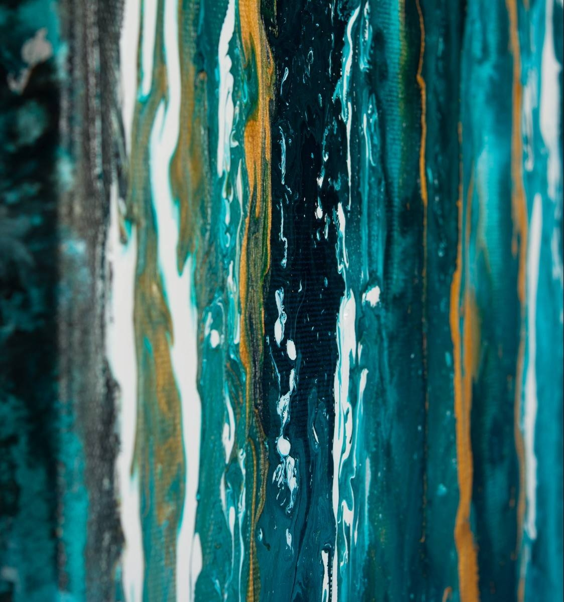 """Meteor Shower Iiqiqigallery 48""""x24"""" Original Modern Abstract Inside Best And Newest Turquoise And Black Wall Art (View 9 of 20)"""