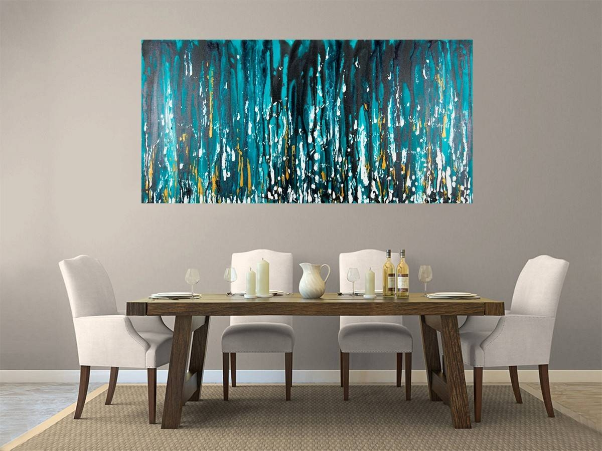 """Meteor Showerqiqigallery 48""""x24"""" Stretched Canvas Original For Most Popular Turquoise And Black Wall Art (View 12 of 20)"""