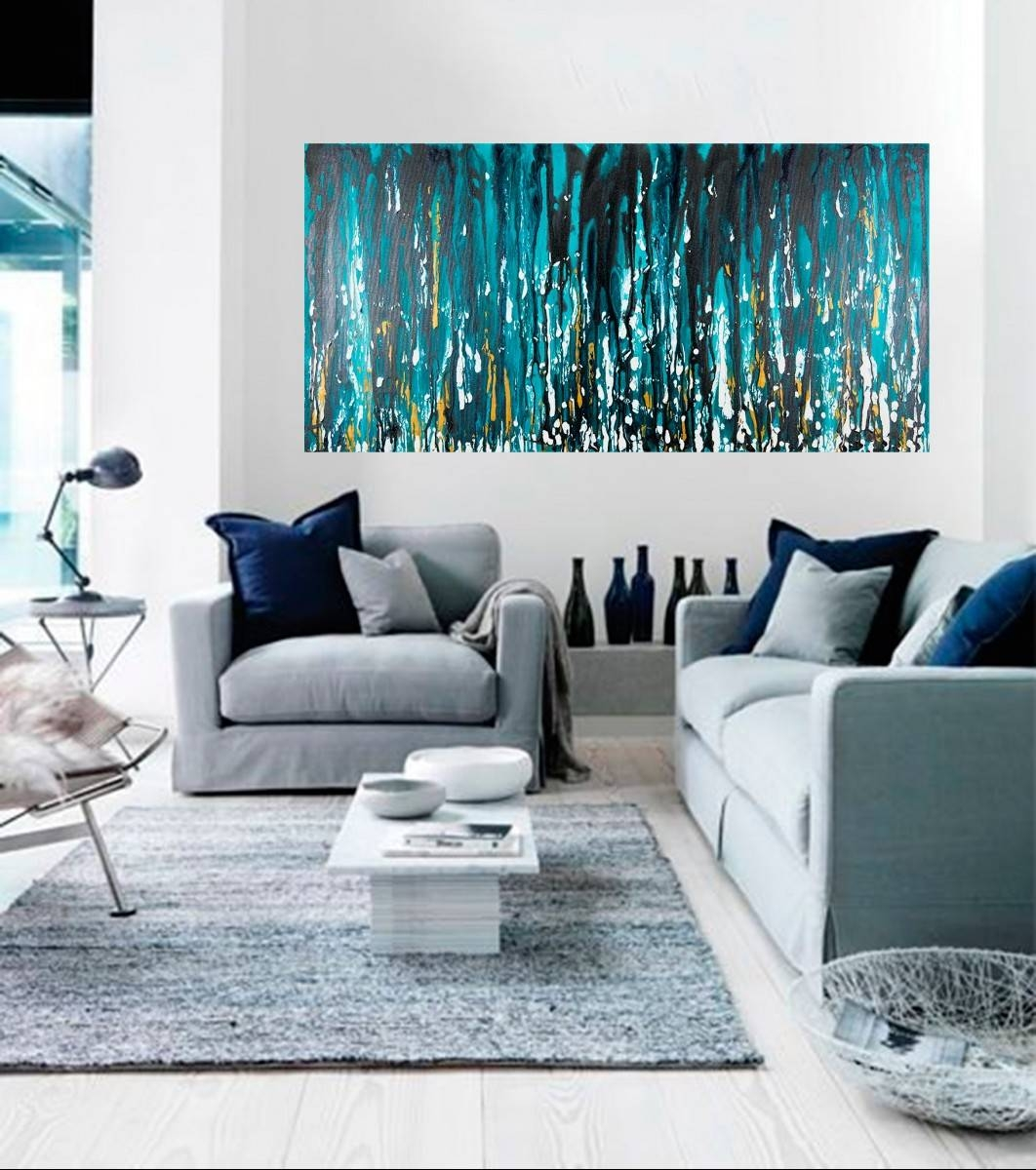 "Meteor Showerqiqigallery 48""x24"" Stretched Canvas Original In Current Turquoise And Black Wall Art (View 7 of 20)"