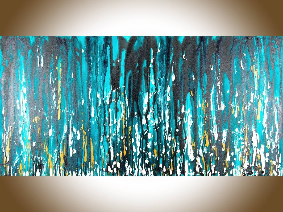 "Meteor Showerqiqigallery 48""x24"" Stretched Canvas Original Throughout Most Recently Released Turquoise And Black Wall Art (View 3 of 20)"