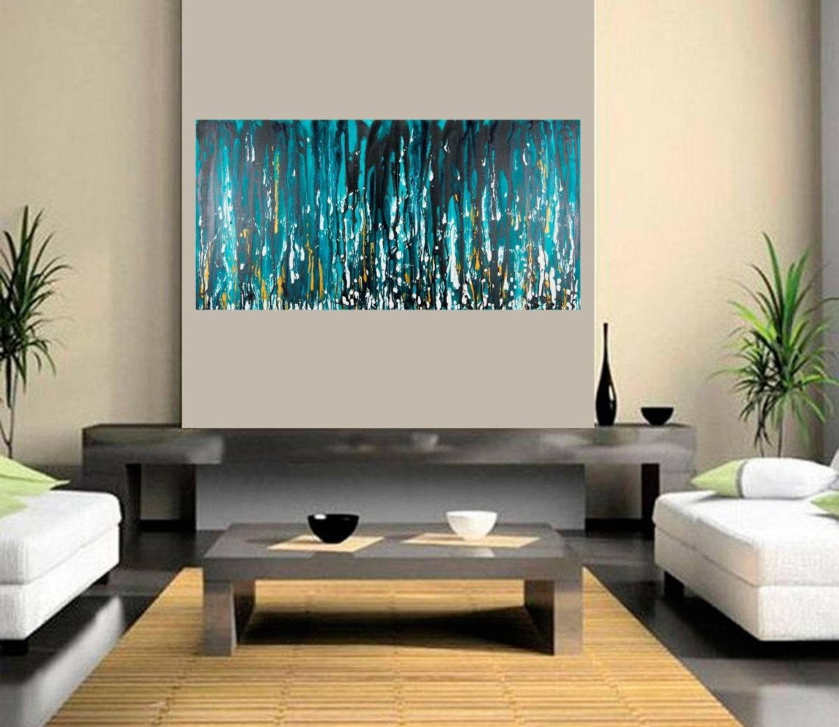 "Meteor Showerqiqigallery 48""x24"" Stretched Canvas Original With Latest Turquoise And Black Wall Art (View 18 of 20)"