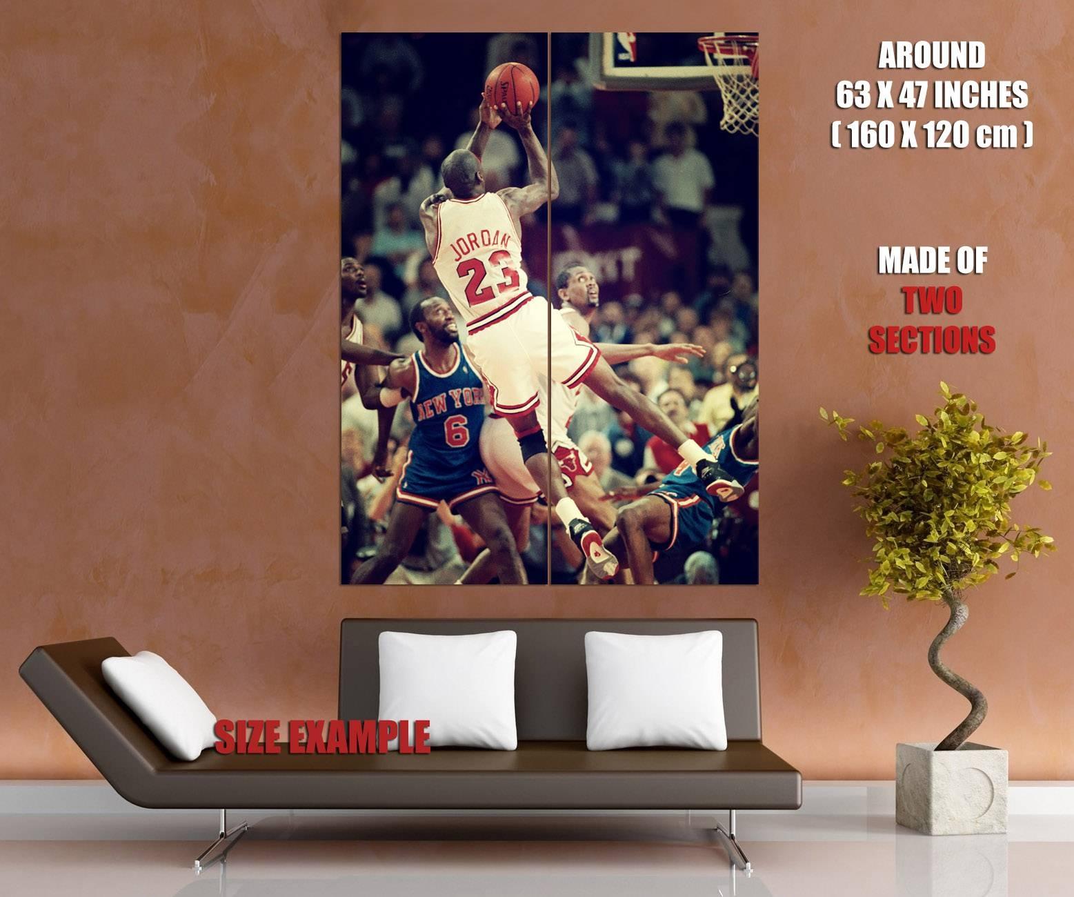 Michael Jordan Fadeaway Shot Nba Wall Print Poster | Ebay For Best And Newest Nba Wall Murals (View 12 of 25)