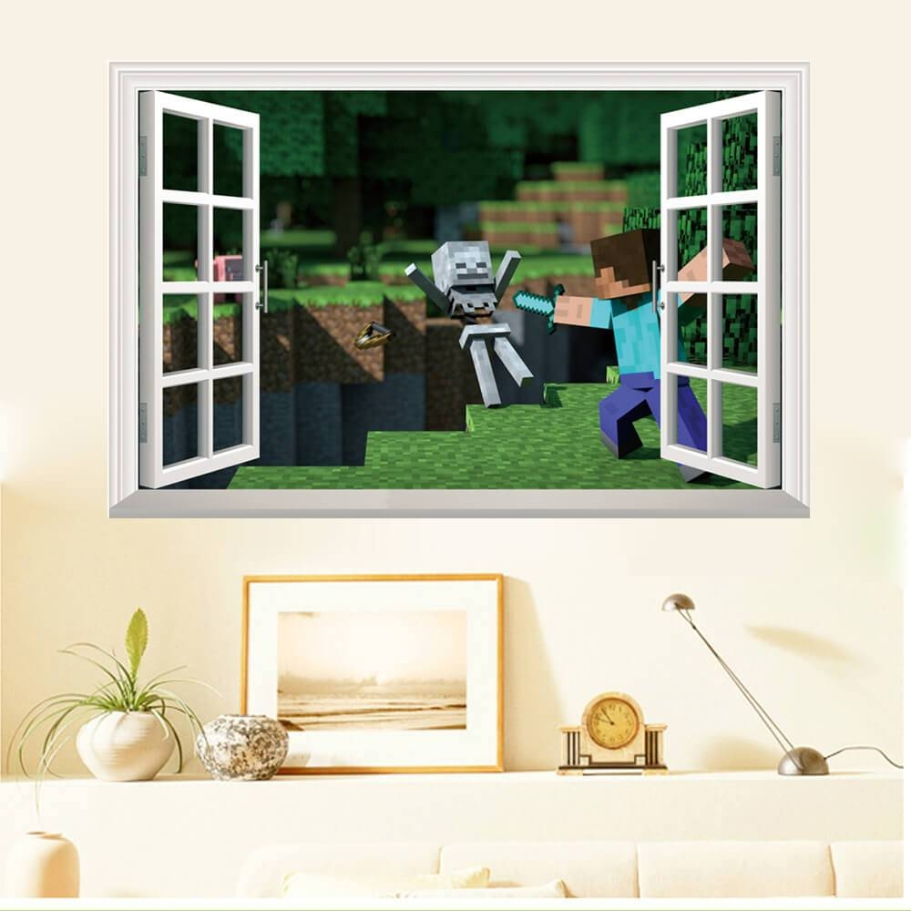 Minecraft Wall Stickers | 3D Wall Decals Ireland | Boys Room Throughout 2017 3D Wall Art Window (View 9 of 20)