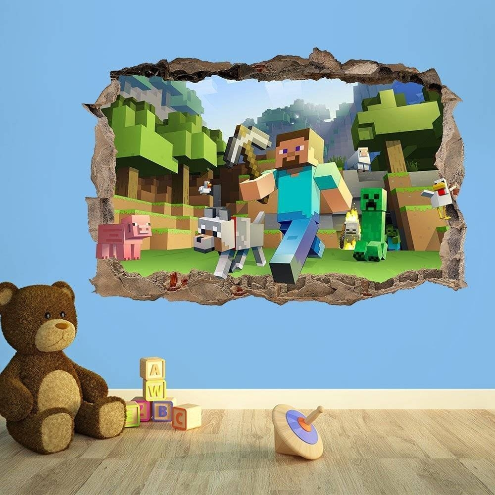 Minecraft Wallpaper – Stickers, Decals — Minecraftbedroom In Most Current Minecraft 3d Wall Art (View 3 of 20)