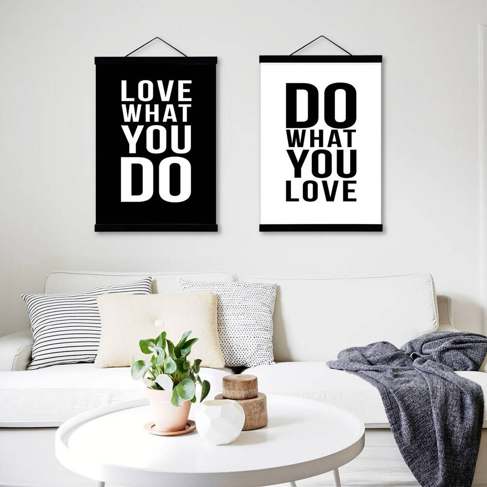 Minimalist Black White Motivational Typography Love Quotes A4 Throughout Latest Typography Canvas Wall Art (View 12 of 20)