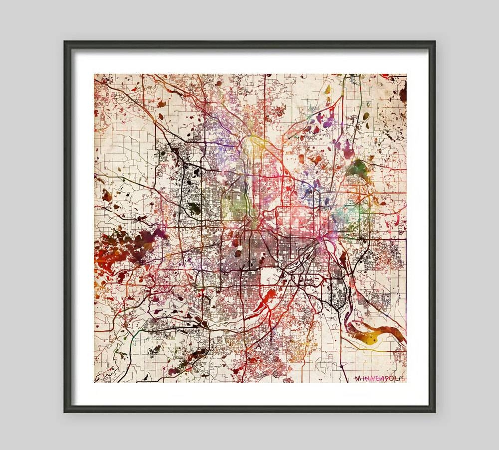 Minneapolis Map Minnesota Watercolor Painting Old Paper Within Recent Minneapolis Wall Art (View 4 of 20)