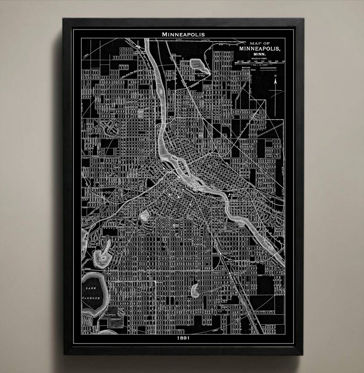 Minneapolis Map Print Black And White Minneapolis Wall Art In Most Up To Date Minneapolis Wall Art (View 5 of 20)