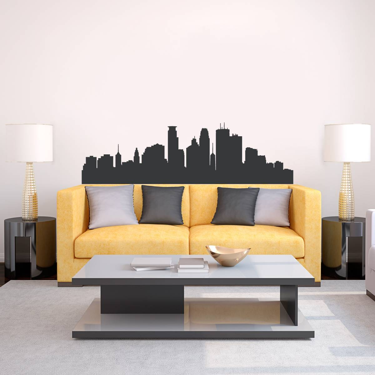 Minneapolis Minnesota Skyline Vinyl Wall Decal Sticker Intended For 2017 Minneapolis Wall Art (View 3 of 20)