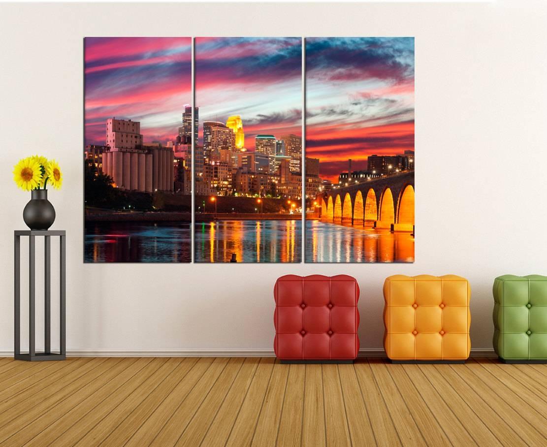Minneapolis Skyline Canvas Print Extra Large Wall Art Print Inside Most Popular Minneapolis Wall Art (View 8 of 20)