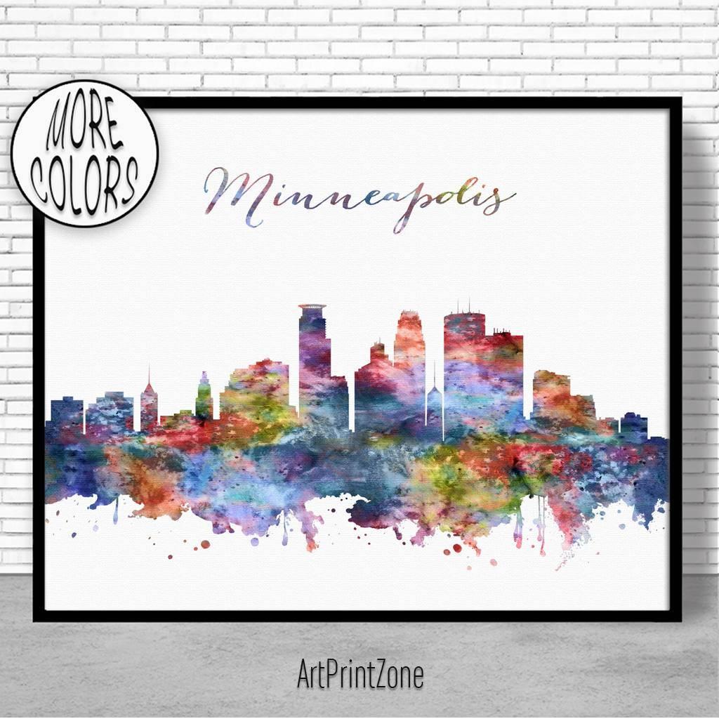 Minneapolis Skyline Minneapolis Print Minneapolis Minnesota Office Intended For Latest Minneapolis Wall Art (View 12 of 20)