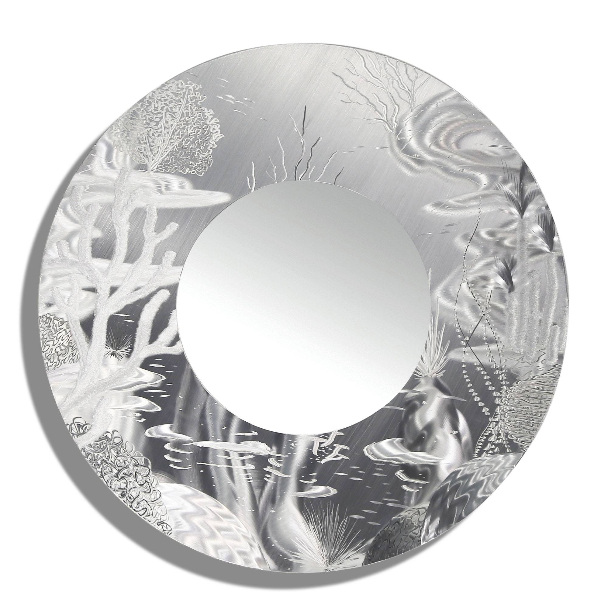 Mirror 102 – All Natural Silver Abstract Marine Life Circle Wall In Most Recently Released Mirror Circles Wall Art (View 8 of 20)