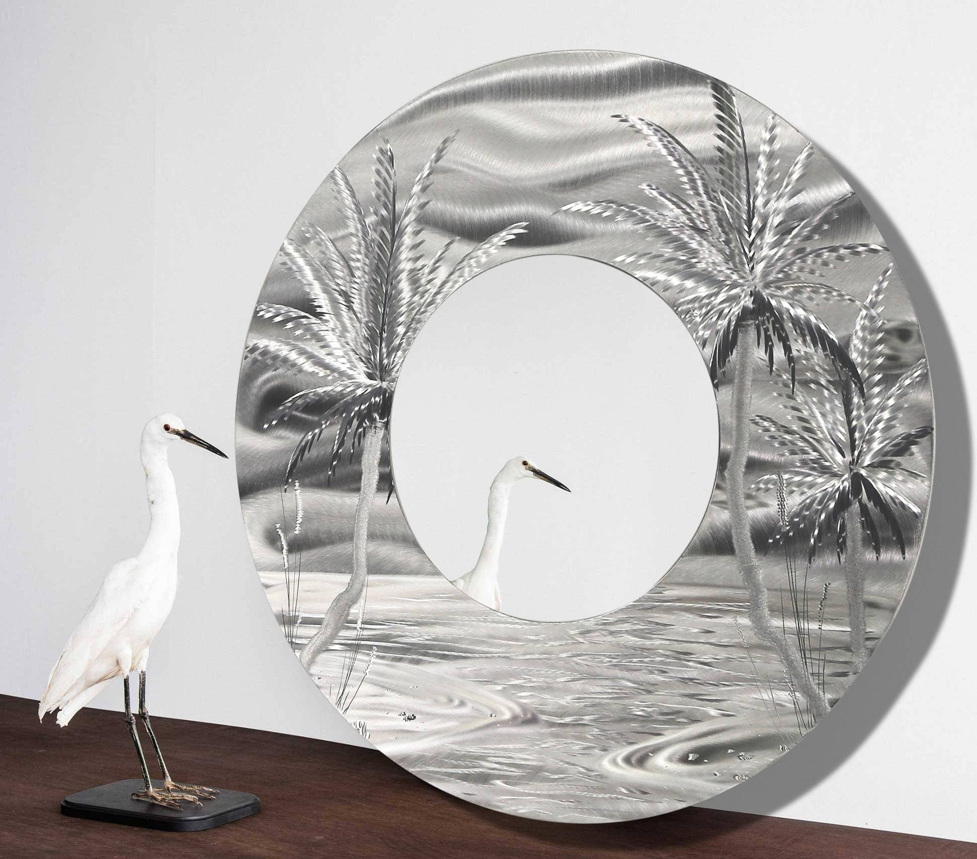 Mirror 106 – Modern Tropical Metal Wall Mirror – Silver Abstract Regarding 2018 Palm Tree Metal Art (View 10 of 25)