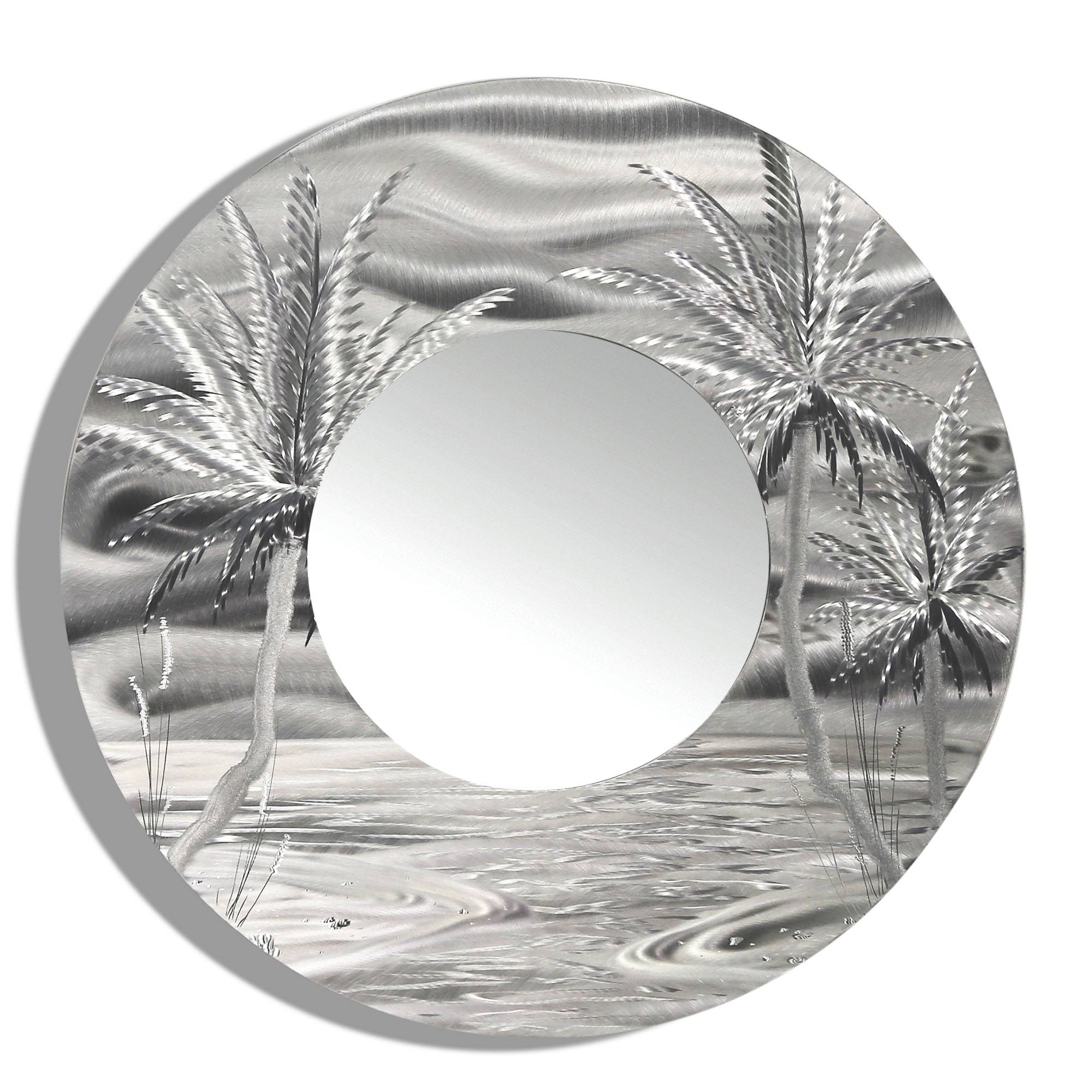 Mirror 106 – Modern Tropical Metal Wall Mirror – Silver Abstract Throughout Most Popular Palm Tree Metal Art (View 11 of 25)