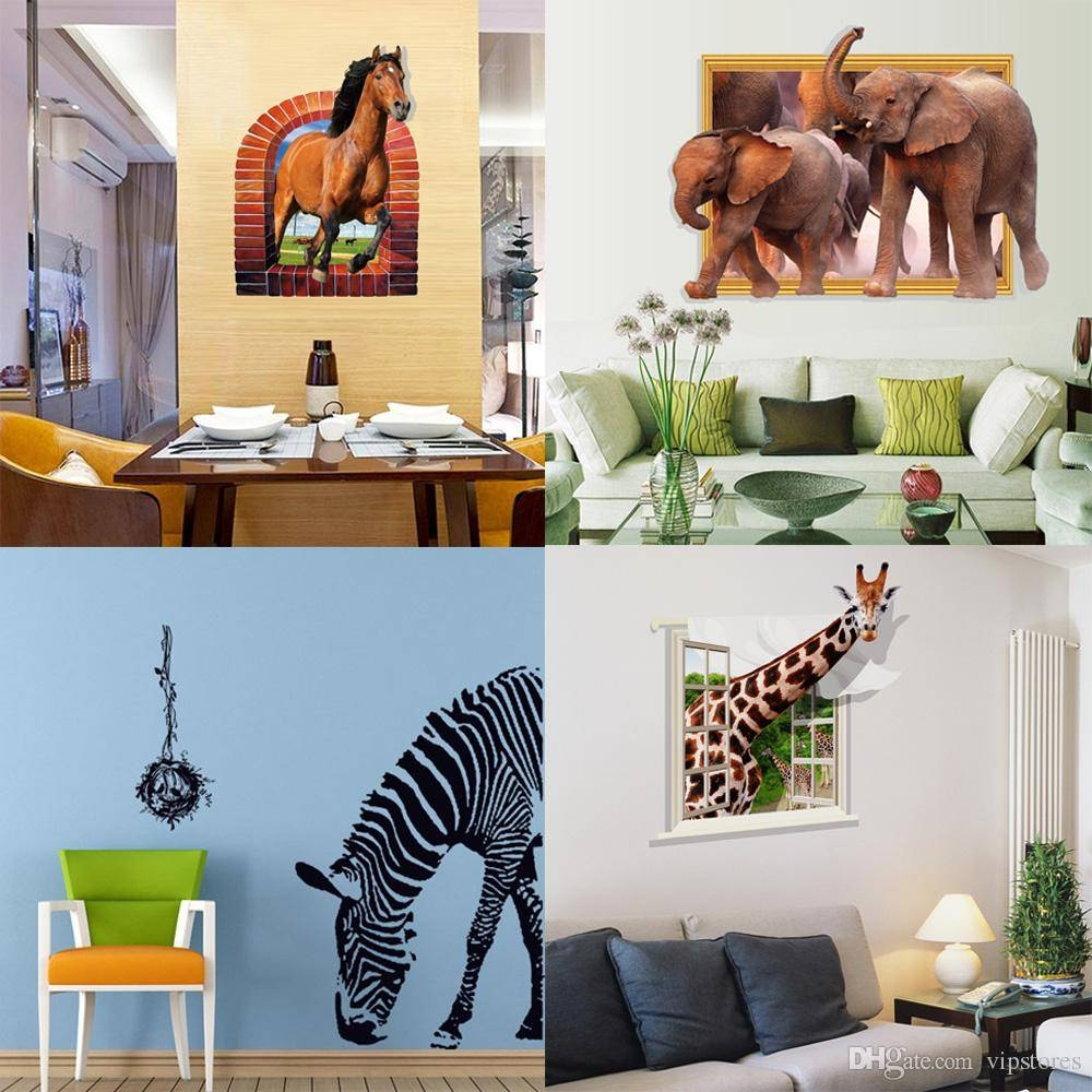 Mixed Style Zebra Horse Elephant Giraffe Wall Stickers 3d Animal Throughout 2017 Zebra 3d Wall Art (View 6 of 20)