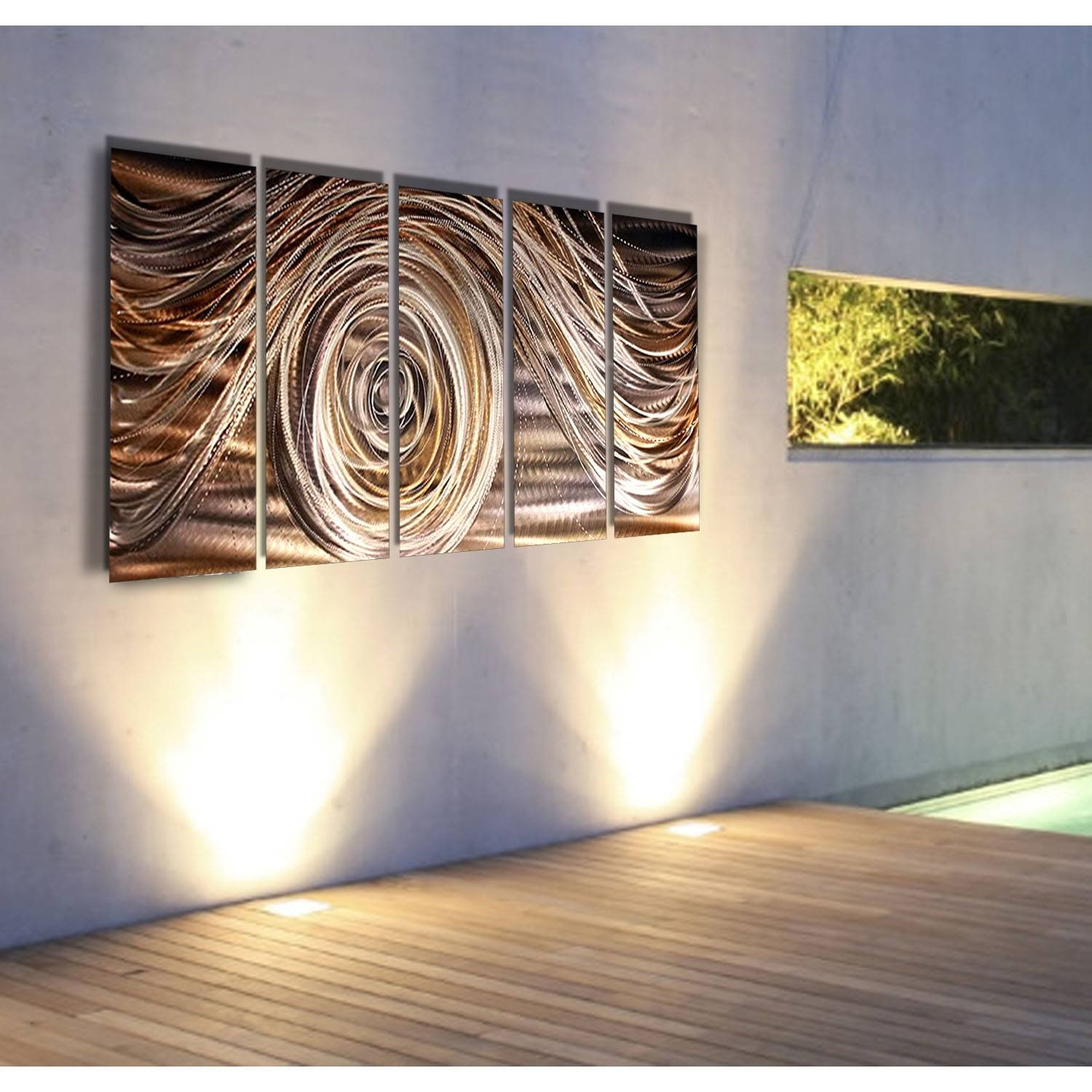 Mocha Swirl – Charcoal, Brown, Gold, And Silver Metal Wall Art – 5 With Newest Silver And Gold Wall Art (View 9 of 15)