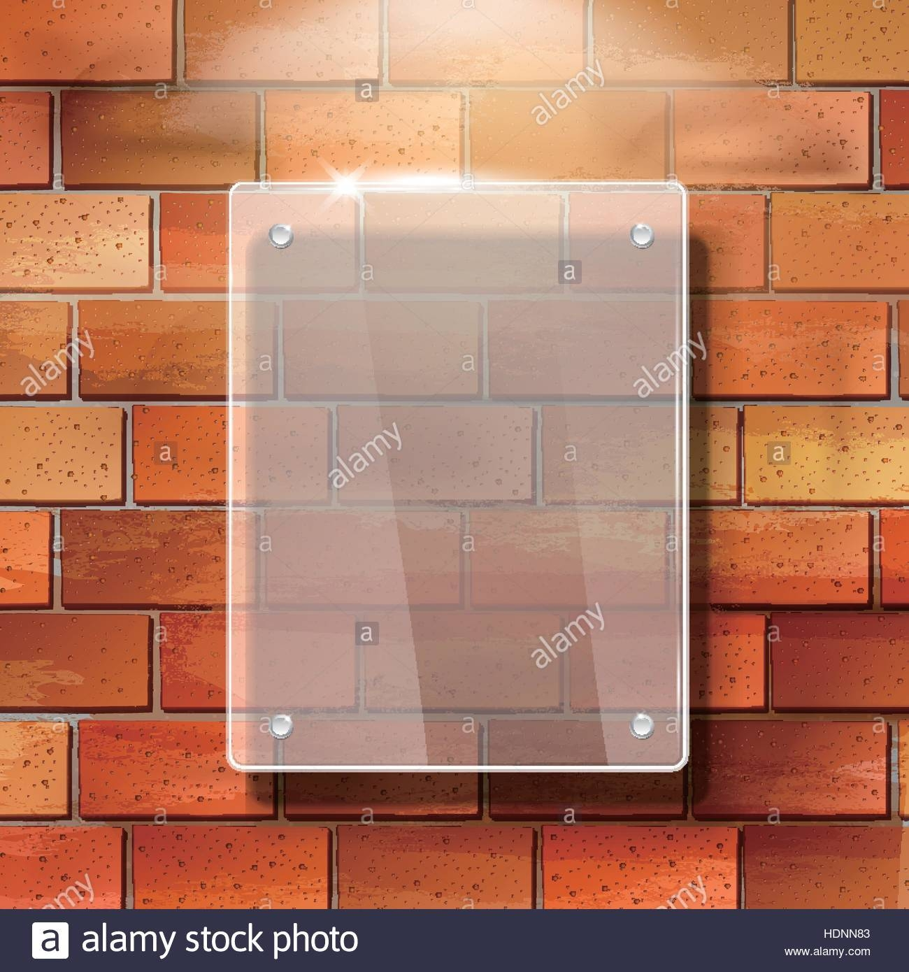 Modern 3d Vector Blank Glass Frame On Red Brick Wall Stock Vector With Best And Newest 3d Brick Wall Art (View 11 of 20)