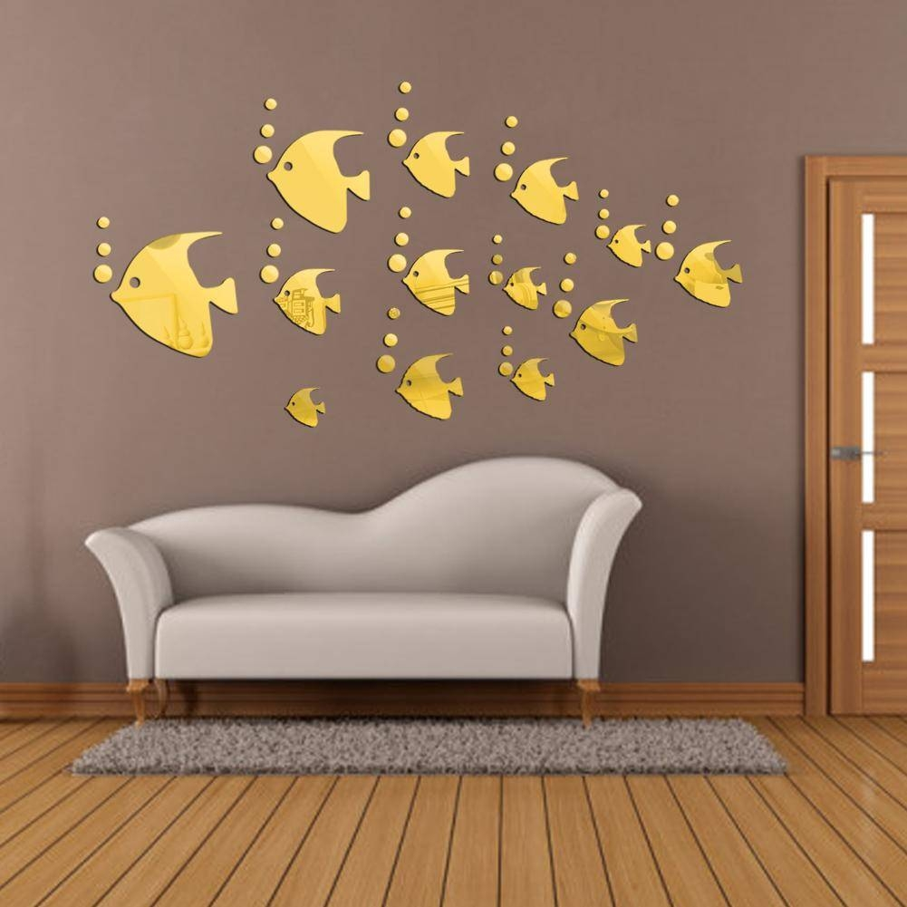 Modern 3D Wall Stickers Wall Art Decorative Fish Shape Acrylic Within Most Current Venezuela Wall Art 3D (View 14 of 20)