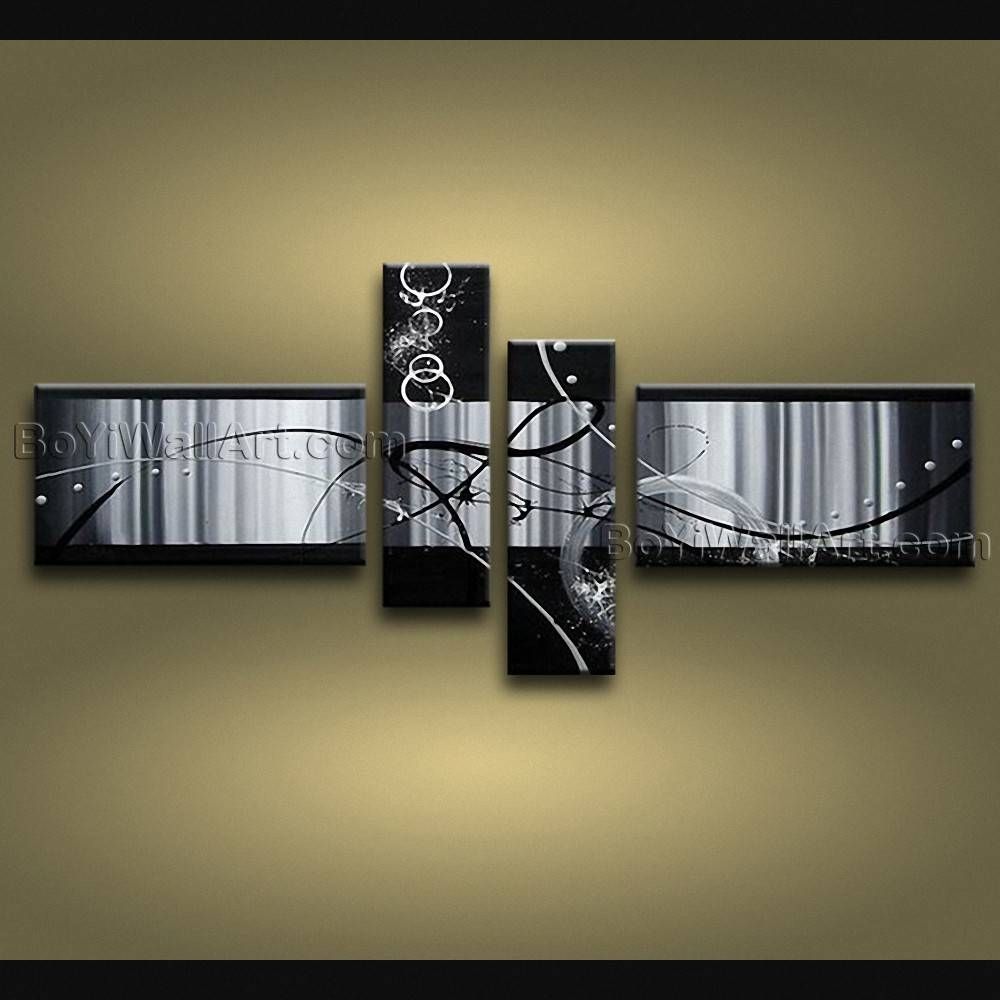 Modern Abstract Painting On Canvas Gallery Wrapped Wall Art Hand With Regard To Most Current Large Modern Wall Art (View 16 of 20)
