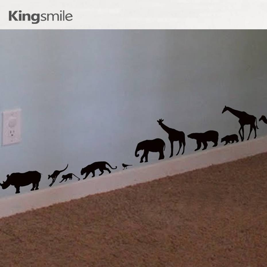Modern Africa Animals Zoo Wall Stickers Vinyl 3d Wall Art Decals Within Recent Animals 3d Wall Art (View 18 of 20)