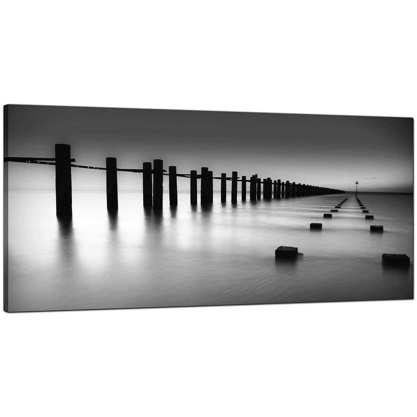 Modern Black And White Canvas Art Of The Sea Regarding Most Popular Large Black And White Wall Art (Gallery 9 of 20)