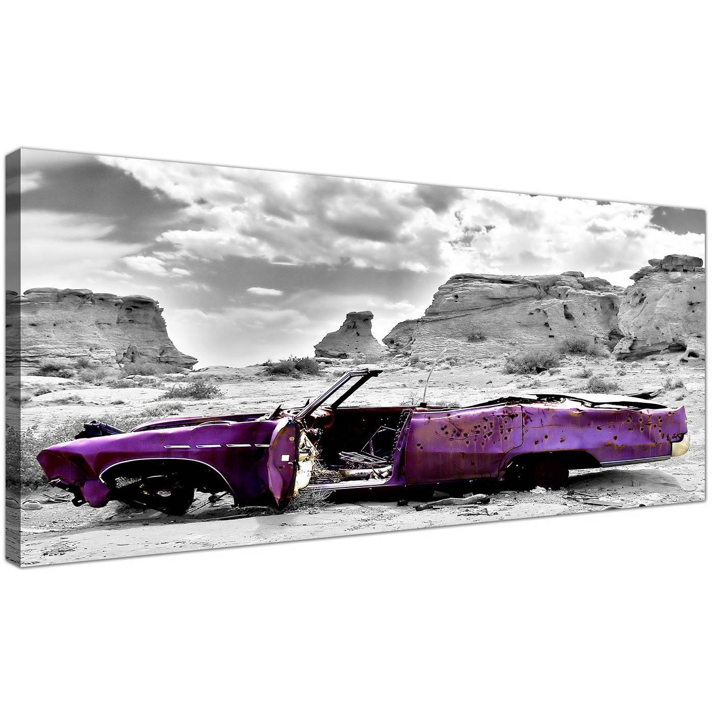 Modern Black And White Canvas Prints Of A Purple Car Regarding 2018 Purple Canvas Wall Art (View 19 of 20)