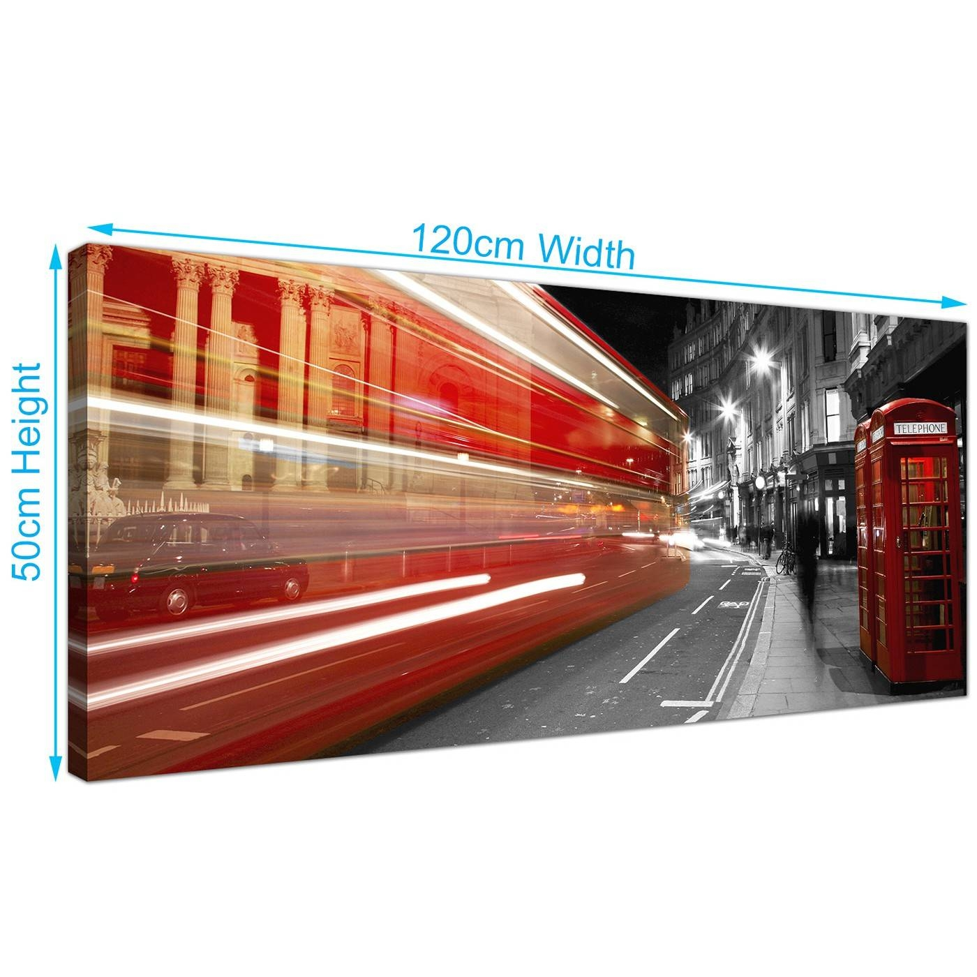 Modern Black And White Canvas Wall Art Of A Red London City Night Bus Within Most Recent London Scene Wall Art (View 12 of 20)