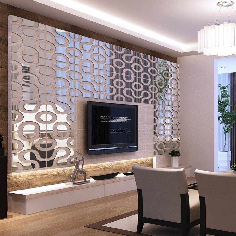 Modern Design Diy Acrylic Mirror Wall Art Home Decor 3D Wall Inside Most Up To Date Modern Mirror Wall Art (View 20 of 20)