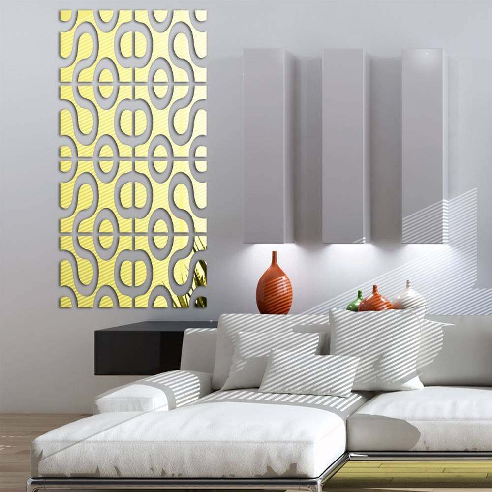 Modern Design Diy Acrylic Mirror Wall Art Home Decor 3D Wall With Regard To Most Recently Released 3D Wall Art For Living Room (View 15 of 20)