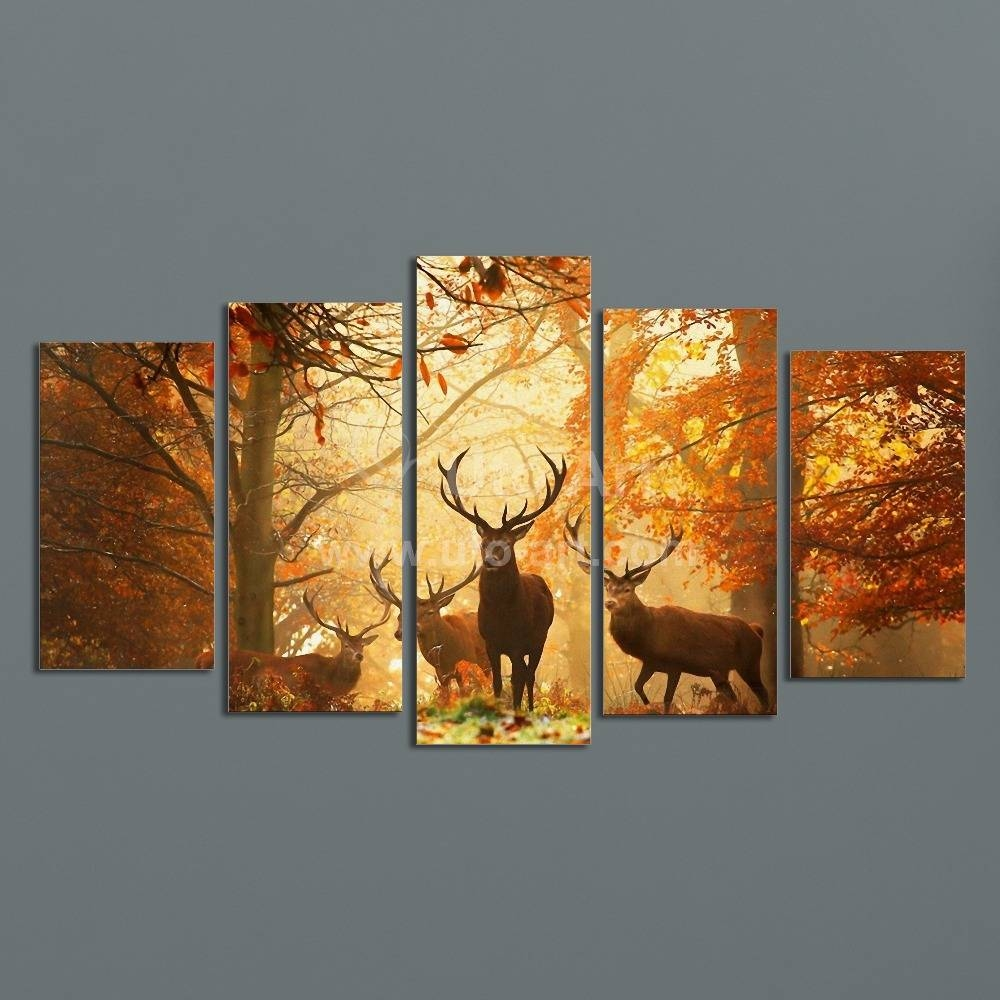 Modern Digital Picture Print On Canvas Animal Deer Custom Wall For Most Recent Customized Wall Art (View 11 of 20)
