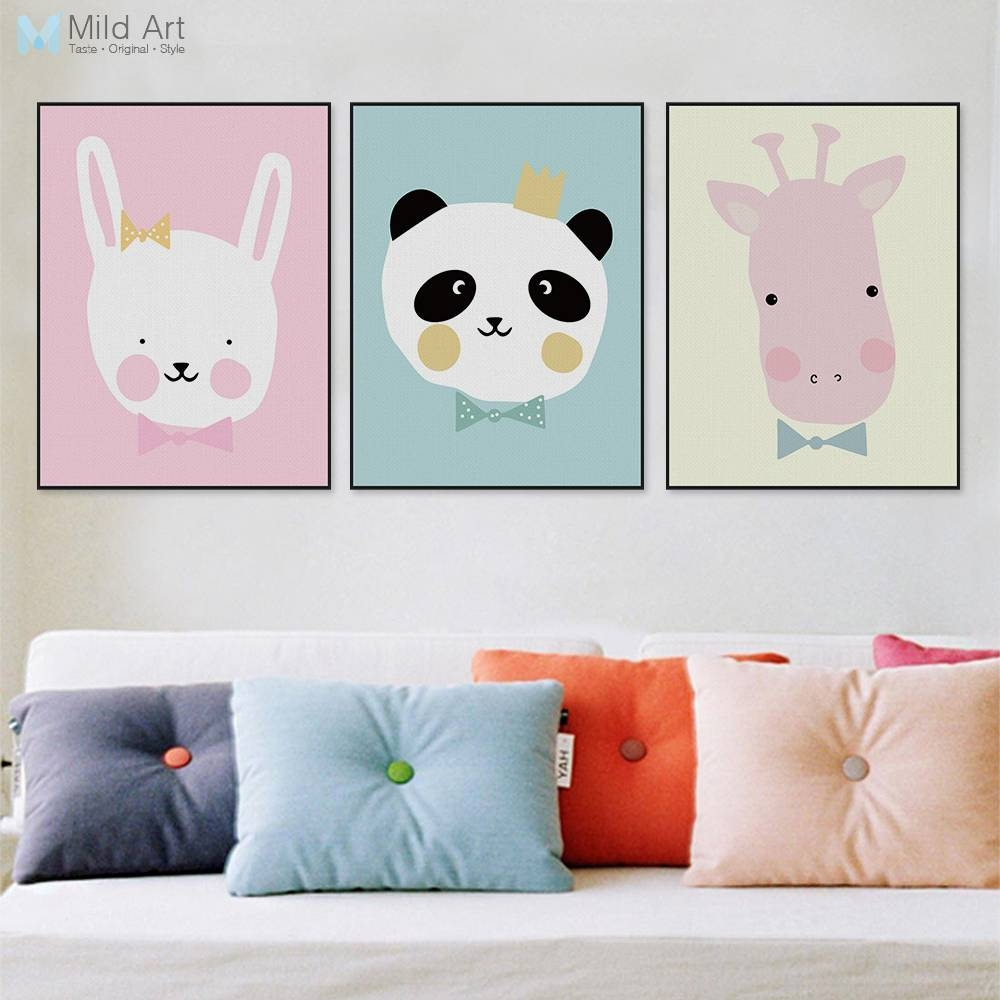 Modern Giraffe Panda A4 Poster Print Cute Cartoon Animals Wall Art In Most Up To Date Animal Wall Art (View 11 of 25)