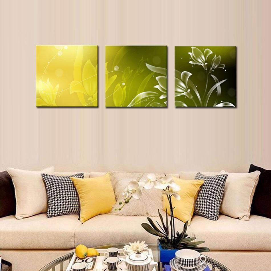 Modern Kitchen Canvas Paintings Charming Beautiful Flower Theme Pertaining To Latest 3 Piece Modern Wall Art (View 10 of 20)