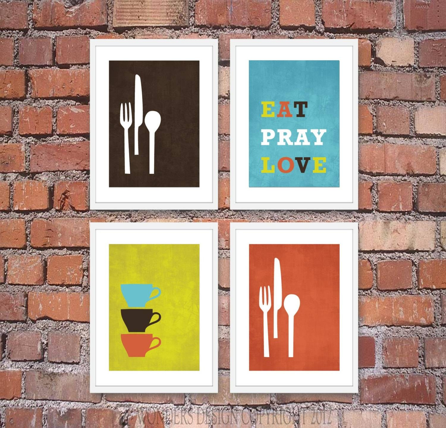 Modern Kitchen Wall Art Print Set Inspirational Eat Pray With Most Up To Date Unique Modern Wall Art And Decor (View 17 of 20)