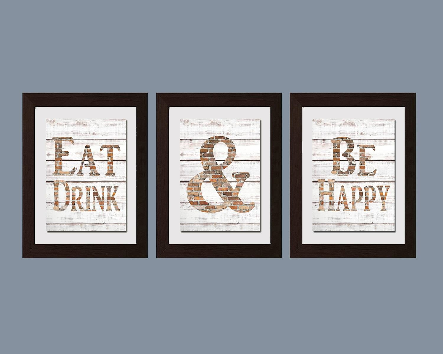Modern Kitchen Wall Art Shabby Chic Wall Art Eat And Drink Throughout Latest Kitchen Wall Art Sets (Gallery 7 of 15)