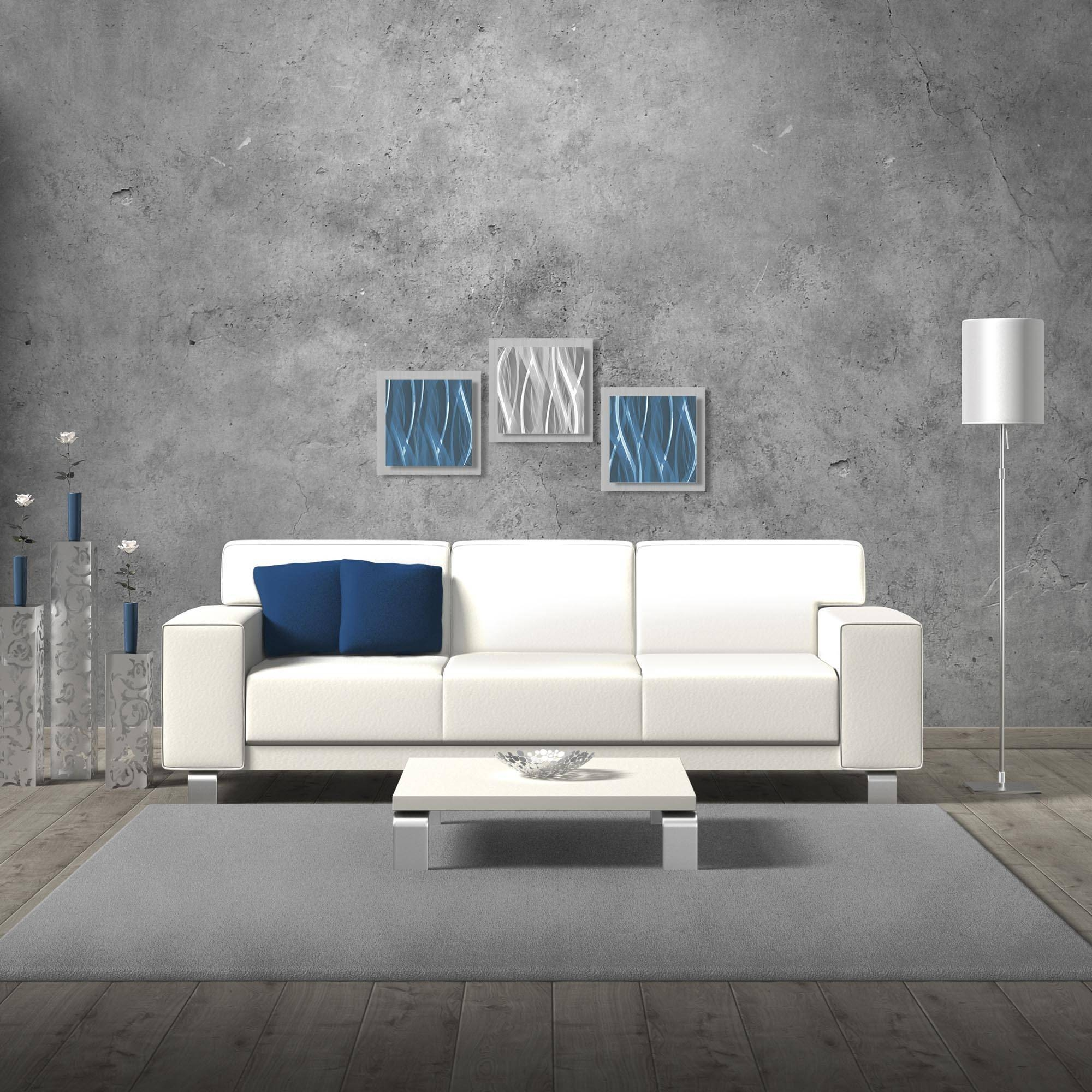 Modern Metal Wall Art Masculine Contemporary Décor Blue Silver For Best And Newest Blue And Silver Wall Art (View 18 of 20)