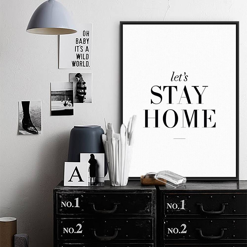 Modern Minimalist Living Room Wall Art Black White Inspirational Within Most Up To Date Typography Canvas Wall Art (View 13 of 20)