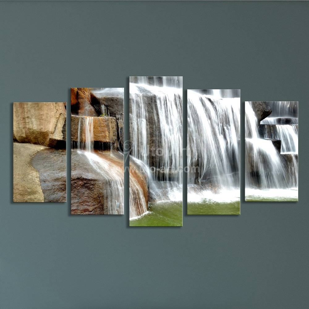 Modern Multiple Panel Wall Art Painting Waterfall Picture 5 Panels Pertaining To Recent Wall Art Frames (View 14 of 20)